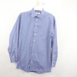 Eton Classic Mens 16 41 Striped Dress Shirt Blue